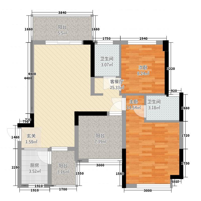 三顺世纪大都会344.17㎡3栋4栋7-28层D户型1室1厅1卫1厨