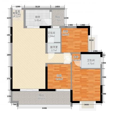 铜锣湾3室2厅2卫1厨832121.00㎡户型图