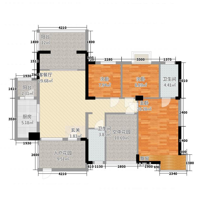 东正国际城1311.52㎡B1户型3室2厅2卫1厨