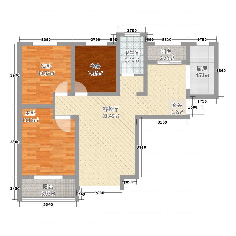 成邑德润华庭8113.22㎡8号楼E3户型3室2厅1卫1厨
