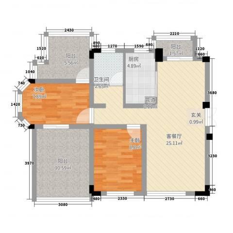 高成上海假日2室1厅1卫1厨67.18㎡户型图