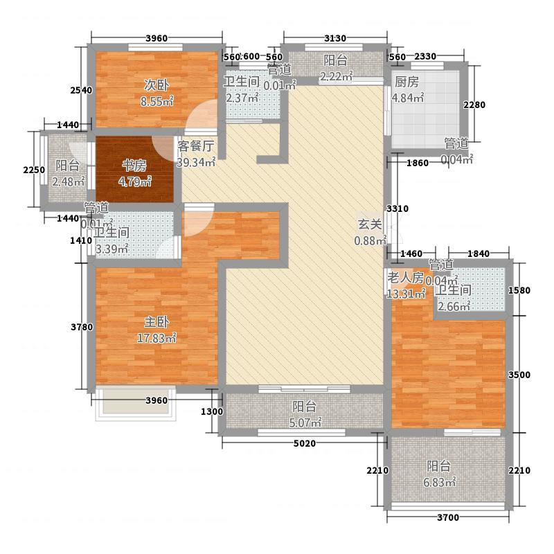 菩禧龙城168.16㎡花园洋房D户型4室2厅2卫1厨