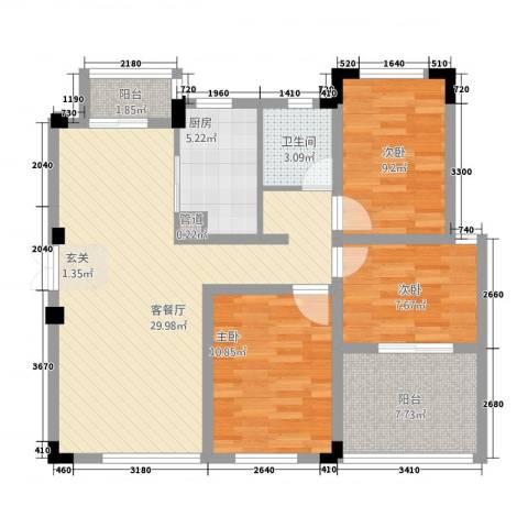 高成上海假日3室1厅1卫1厨75.81㎡户型图