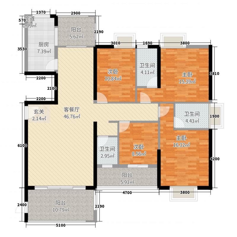 富雅国际71178.20㎡7#A01户型4室2厅3卫1厨