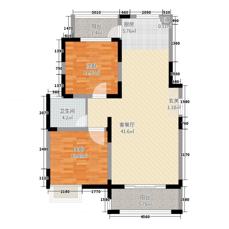 江南十二府112.00㎡B-3112m²户型2室2厅1卫1厨