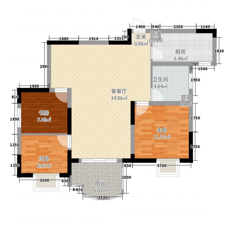 御锦馨河城13.20㎡B户型3室2厅1卫1厨