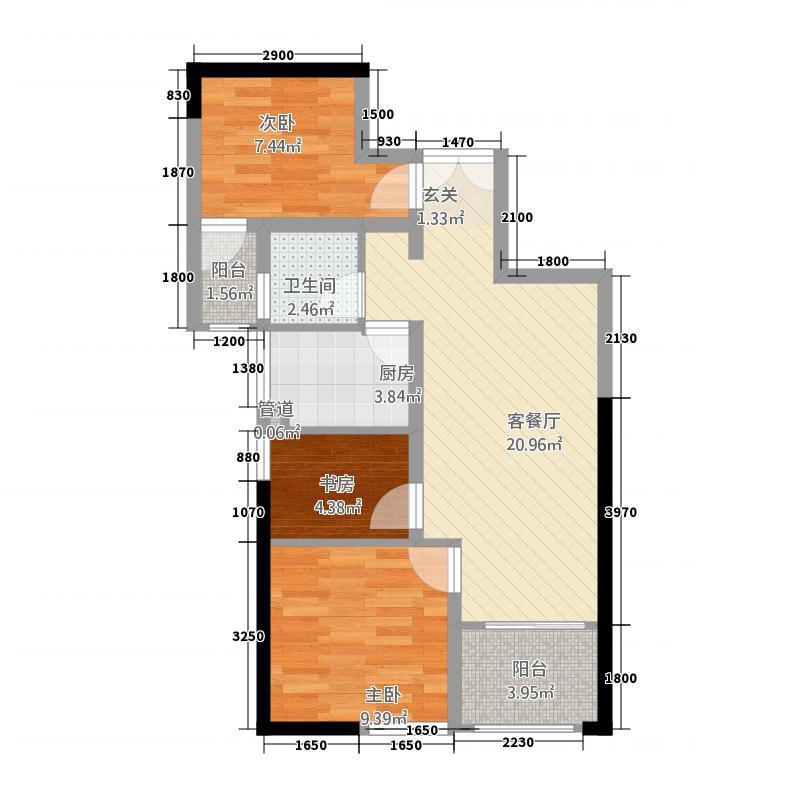 瑞鼎城3273.32㎡A户型3室2厅1卫1厨