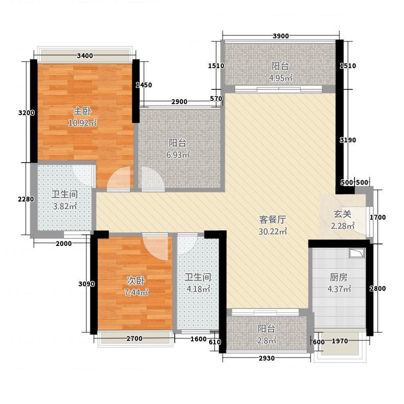 君汇名城218.85㎡21幢标准层03户型3室2厅2卫1厨