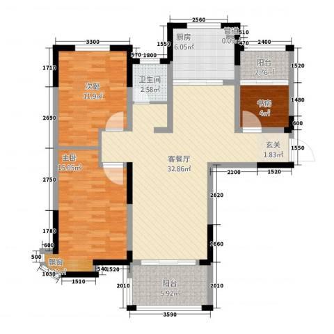 新安达观天下3室1厅1卫1厨111.00㎡户型图