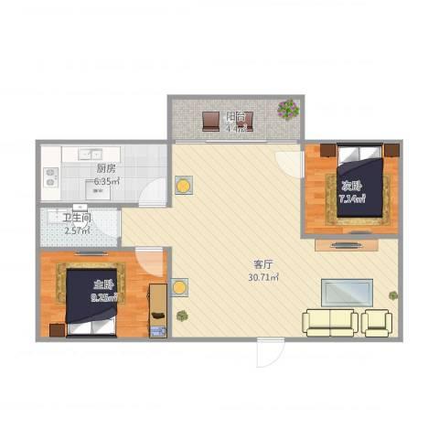 明珠广场2室1厅1卫1厨81.00㎡户型图