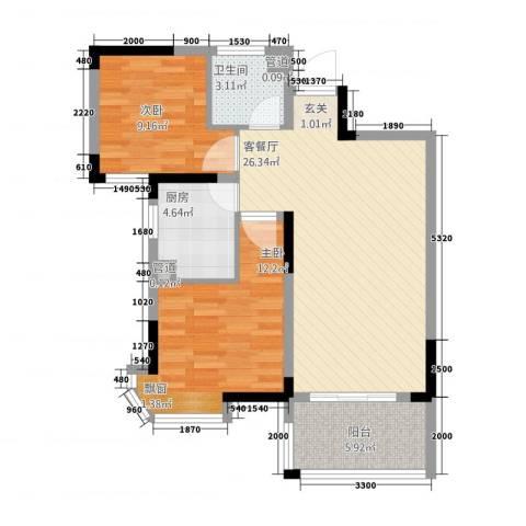 新安达观天下2室1厅1卫1厨288.00㎡户型图