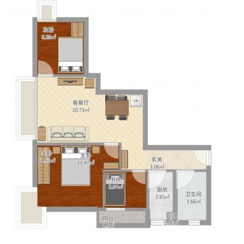 荟锦3室1厅1卫1厨73.00㎡户型图