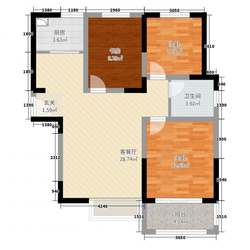 海德PARK1312.82㎡C-01户型3室2厅1卫1厨