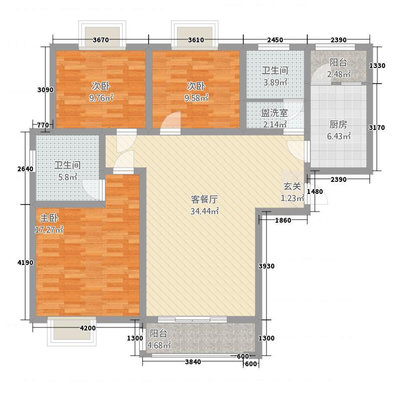大都会御湖公馆138.78㎡户型3室2厅2卫1厨