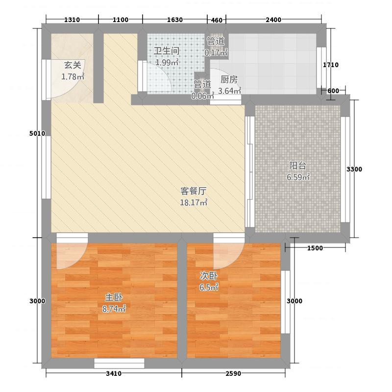东方海逸半岛266.20㎡C2户型2室1厅1厨