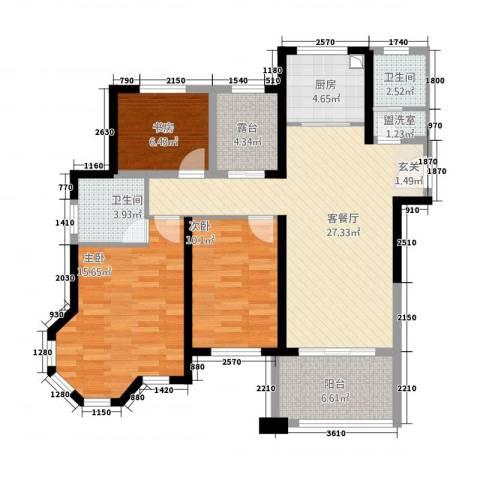 华鑫天域居3室2厅2卫1厨312.00㎡户型图