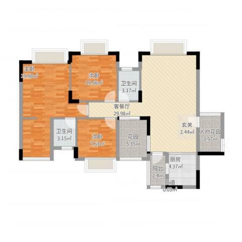 世纪城国际公馆 四期3室1厅2卫1厨129.00㎡户型图