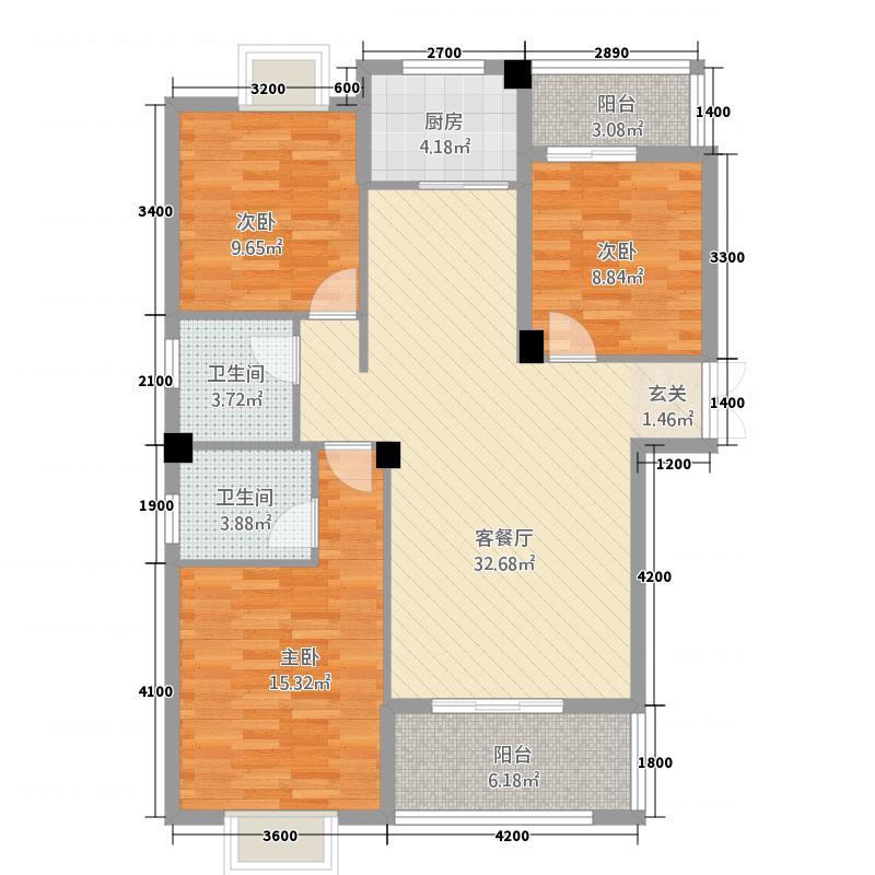 仁信国际广场1124.53㎡b1户型3室2厅1卫1厨