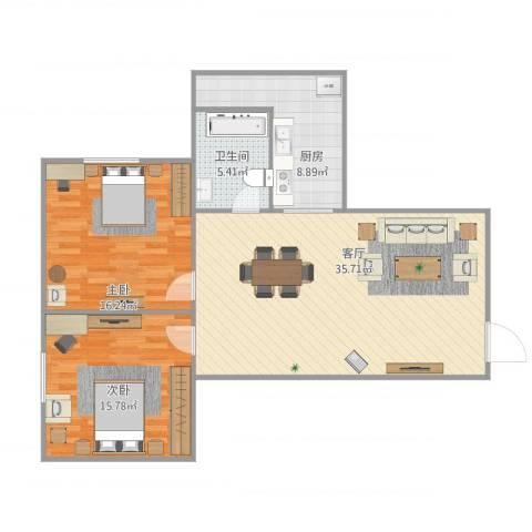 宏威中心2室1厅1卫1厨109.00㎡户型图