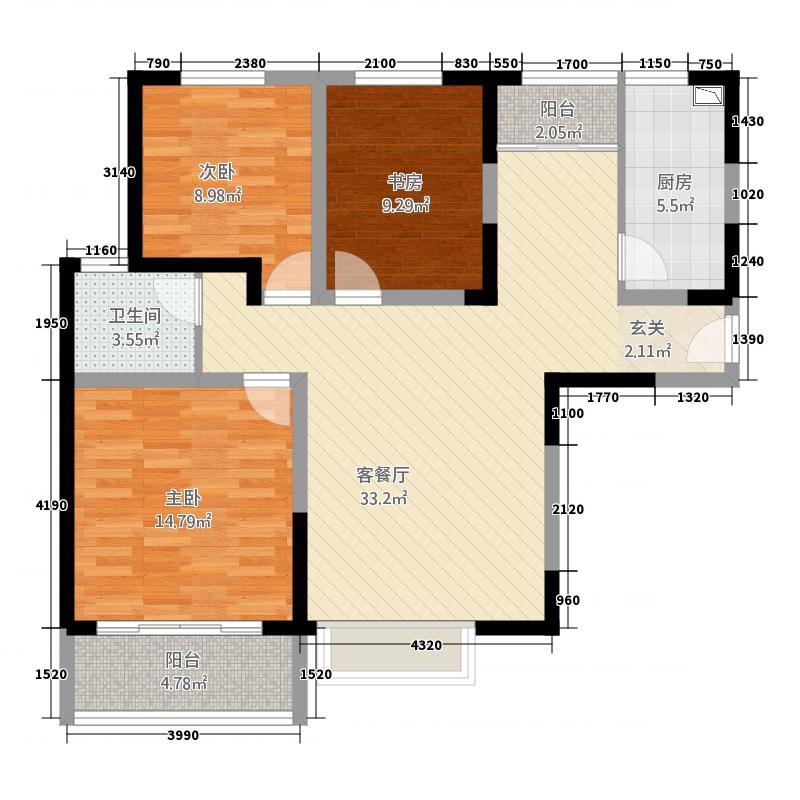 海德PARK1311.20㎡B-01户型3室2厅1卫1厨