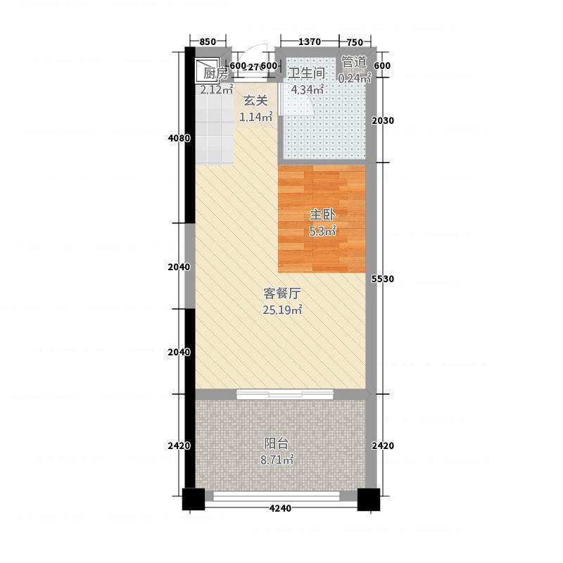 合正东部湾146.20㎡B户型1室1厅1卫1厨