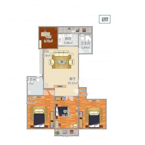 城泰湖韵天成4室1厅2卫1厨186.00㎡户型图