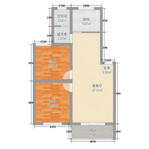 月亮湾2室2厅1卫1厨62.30㎡户型图