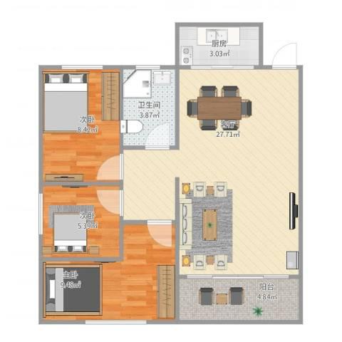 碧翠华庭3室1厅1卫1厨101.00㎡户型图