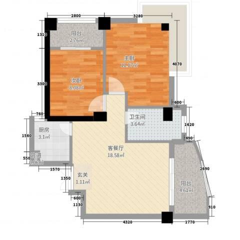旭峰花园广场2室1厅1卫1厨76.00㎡户型图