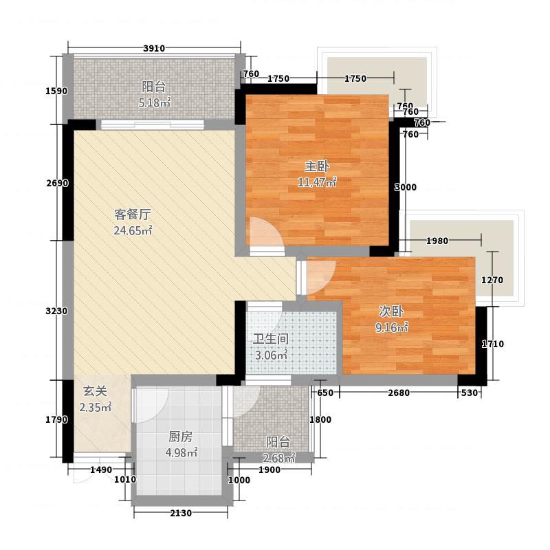 润洲江山城82.73㎡一期6号楼6号房标准层户型2室2厅1卫1厨