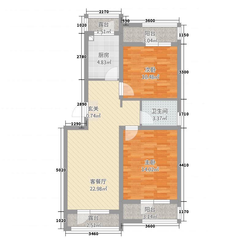 盛河林苑42116.12㎡户型2室1厅1卫1厨