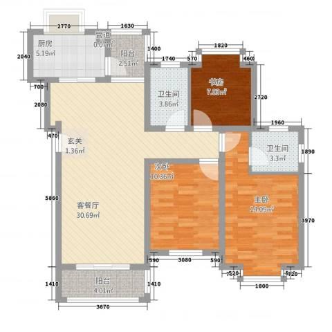 通澄花园3室1厅2卫1厨118.00㎡户型图