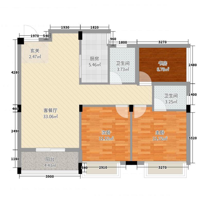 英伦名邸2214.42㎡D户型2室2厅2卫1厨
