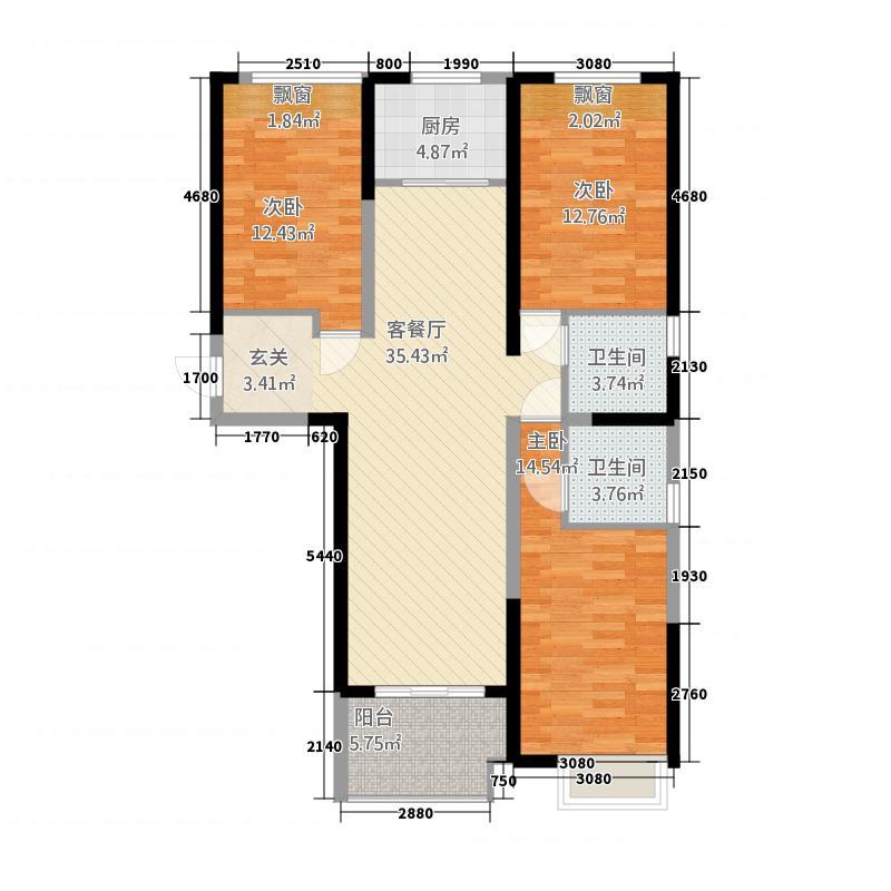 保利建业・香槟国际132.20㎡一期巴黎之花户型3室2厅2卫1厨