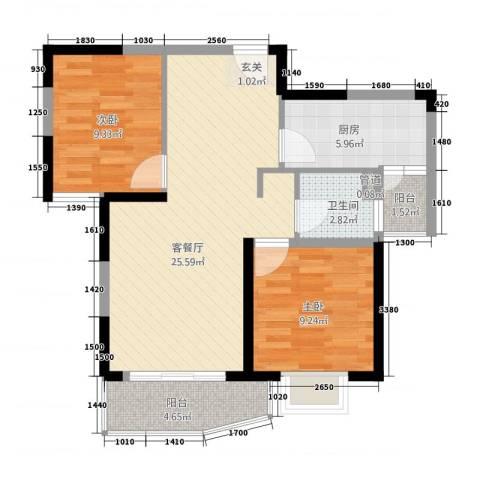 东辉铂领2室1厅1卫1厨85.00㎡户型图