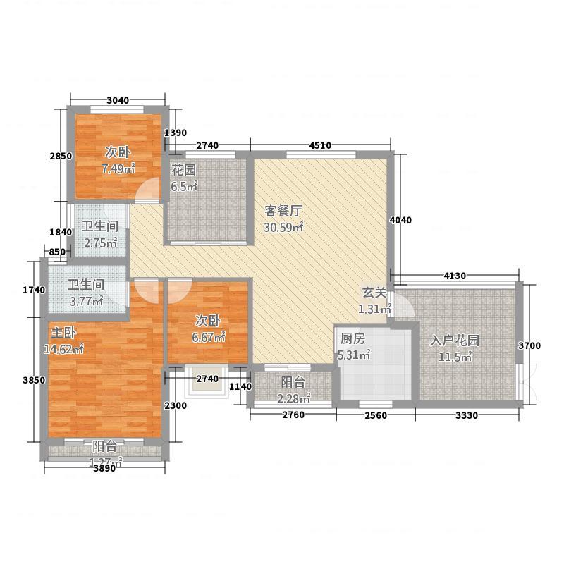 水木清华63133.12㎡6#D户型3室2厅2卫1厨