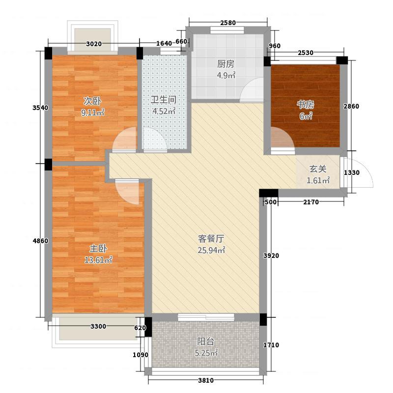 英伦名邸221.78㎡B户型2室2厅1卫1厨