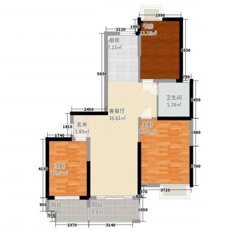 鸿益千秋3室1厅1卫0厨124.00㎡户型图
