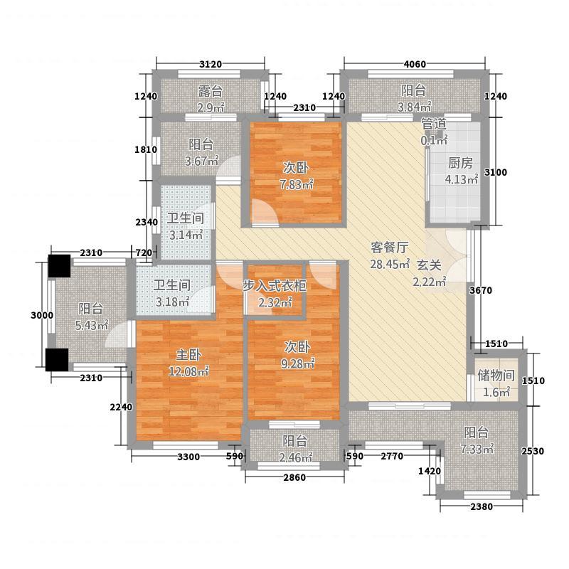 锦绣公馆15322155.00㎡户型3室2厅2卫1厨