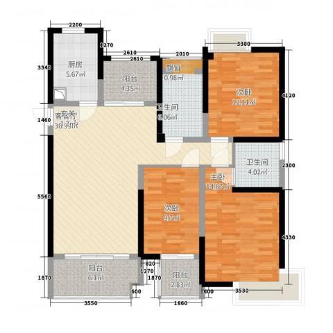 鸿益千秋3室1厅2卫1厨142.00㎡户型图