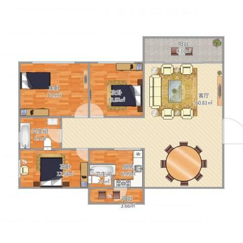怡翠花园紫荆南1座12033室1厅2卫1厨178.00㎡户型图