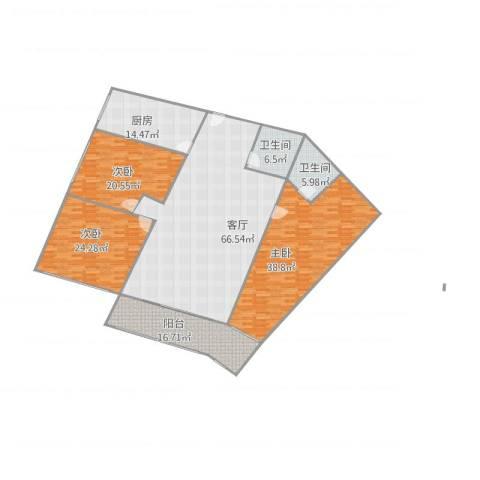 顺义幸福小区3室1厅2卫1厨255.00㎡户型图