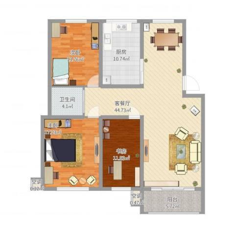 我的家园3室1厅1卫1厨153.00㎡户型图