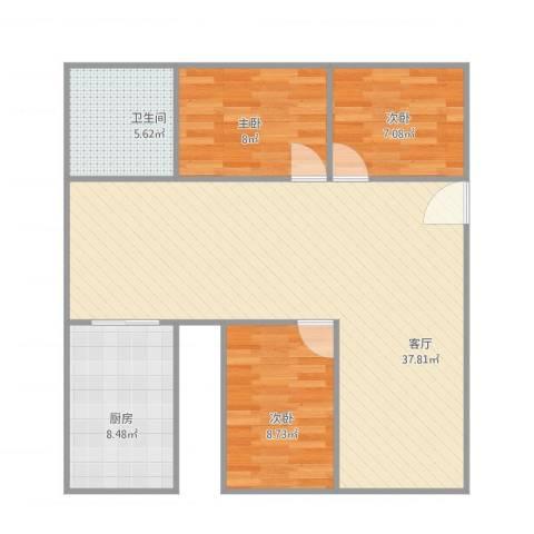 新乐村3室1厅1卫1厨101.00㎡户型图