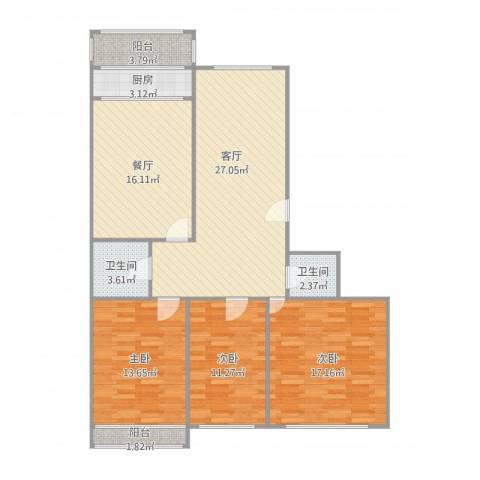 西苑小区3室2厅2卫1厨135.00㎡户型图