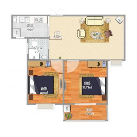 金鼎安邦2室1厅1卫1厨73.00㎡户型图