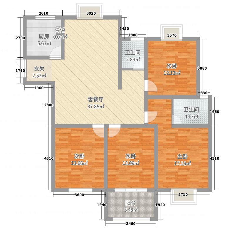 如歌花苑4416.32㎡户型4室2厅2卫1厨