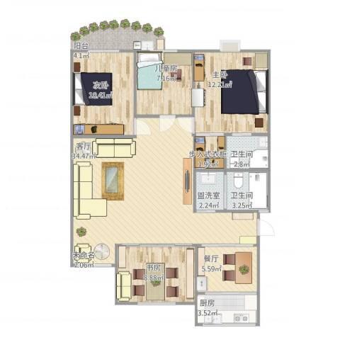五凤山庄4室3厅2卫1厨125.00㎡户型图