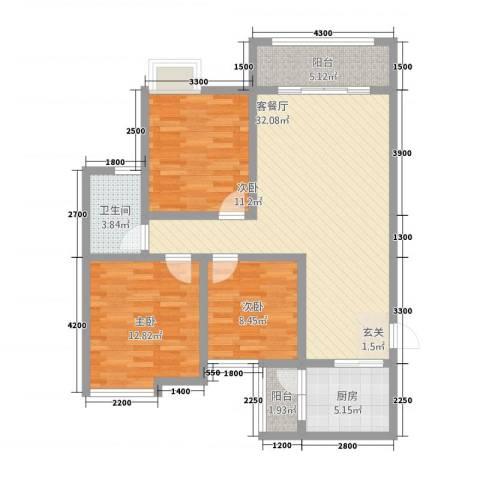 永川金域蓝湾二期3室1厅1卫1厨80.57㎡户型图