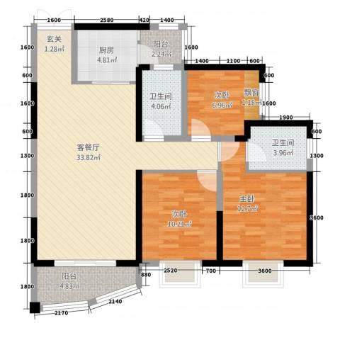 中央商务区CBD(南区)3室1厅2卫1厨83.59㎡户型图